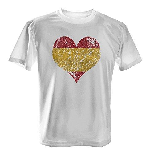 Fashionalarm Herren T-Shirt - I Love Spain   Fun Shirt Trikot mit Vintage Flagge Print für Fußball & Spanien Fans   Strand Urlaub   EM & WM Weiß