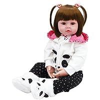 Yesteria Muñecas Reborn Bebé Realista Vinilo Silicona Panda Coat Negro Zapatos de Pantalones 60 cm