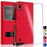 KONTARBOOR Custodia Cover Samsung Galaxy A10 Rosso + Pellicola Vetro Temperato + Pennino * * * Vari Colori Disponibili * * *