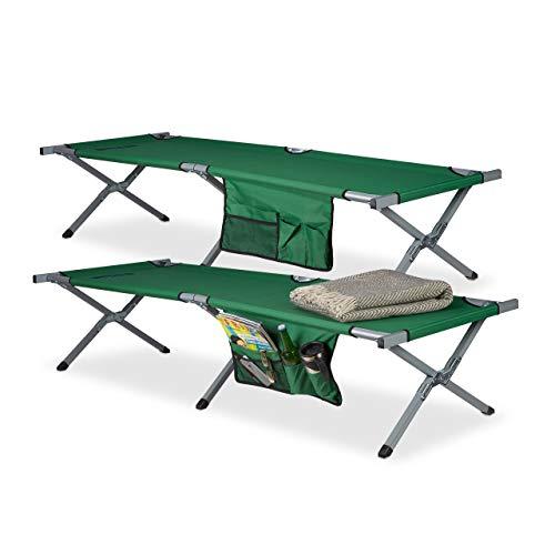 Relaxdays Feldbett faltbar 2er Set XL, Polyester, Campingliege extra hoch, HBT: 190x64x43 cm, Transporttasche, grün