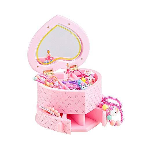 Slivy Herz-Form-Spieluhr for Mädchen Ballerina-Spieluhr Kinder Schmuckschatullen rosaen Kunststoff Musikaufbewahrungsbehälter mit 2 Rotating Schublade for kleines Mädchen Geschenke (Color : Rosa)