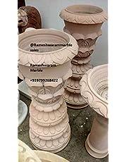 RM 30 * 12inch Stone Bowl Pot Birdbath Pot for Outdoor Garden Decoration by Rameshwaram Marble