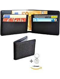 c43221e5f7 Hoopera Portafoglio Uomo Piccolo Sottile   Protezione Rfid-Nfc   Porta  Carte Di Credito E Banconote Slim Schermato…