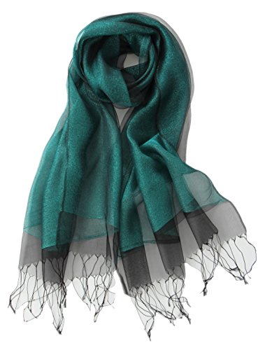 Prettystern - a doppia pala seta leggera & effetto metallico lucicante lungo foulard di seta - 4. verde
