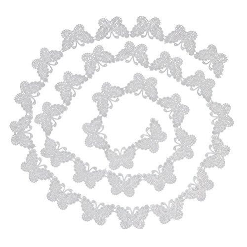 ULTNICE Spitzen Band White Lace Trim Nähen bestickter Spitze trimmen Schmetterling Muster 3 Yards 5 cm (Spitze Yds)