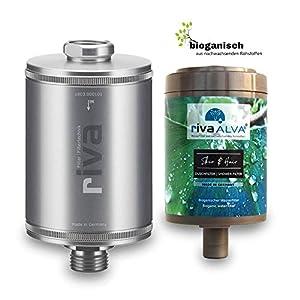 rivaALVA Filter Skin & Hair Duschfilter Set   Wasserfilter für Haut und Haar   100% Biologisch, Plastikfrei   filtert Bakterien & Keime, Schützt vor Schadstoffen   Kartusche & Metall-Gehäuse Silber