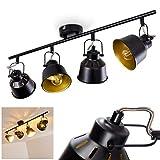 Deckenleuchte Safari, Deckenlampe aus Metall in Schwarz/Gold, 4-flammig, mit verstellbaren Strahlern, 4 x E14-Fassung, max. 40 Watt, Spot im Retro/Vintage Design, für LED Leuchtmittel geeignet