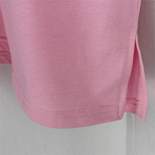 Yeesea Eté Femme Fille Imprimé T-Shirt Top Blouse Manches Courtes Coton Crop Tops Rose
