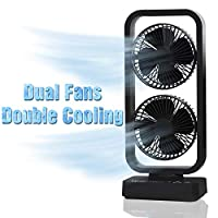 Vykor Dual Fan Portable Tower Fan Black Quiet, Dual Fan USB Cordless Oscillating Office Cooling Fan, Oscillating Table 16inch Fan, Fast Charge Desk Fan, Large Cooling Tower Fan For Home Office Bedroom