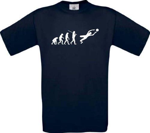ShirtInStyle T-Shirt Evolution Sport Torwart Fussball Handball... Fun Shirt, Farbe blau, Größe S (Grey-t-shirt Evolution Ash)
