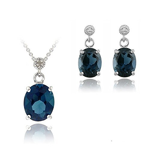 Sterling Silver 10.8ct London Blue Topaz & Diamond Accent Oval Pendant Earrings Set
