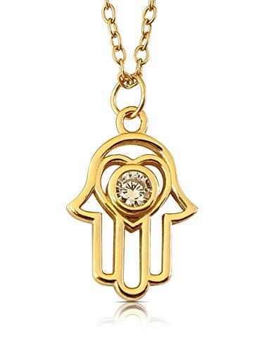 Hand der Fatima I Aus 925er Silber mit 585er Gold überzogen I Die Original Hamsa Kette (Gold) ()