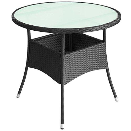 Festnight Gartentisch Tisch Terrassentisch Polyrattan 90 x 74 cm Schwarz
