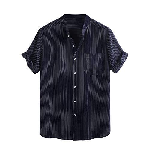 Zolimx Leinenhemd Herren Freizeithemd Kurzarm Männer Hemd Stehkragen Casual Regular Fit Oberteile, Männer Vintage Spleiß Tasche Leinen Solide Kurzarm Retro T Shirts Tops Bluse - Überprüfen Sie Classic Fit Shirt