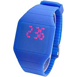 SAMGU Girls Boys LED Watch Ultra-thin Design jelly Woman Unisex Students Electronic Silicone Strap Color Blue