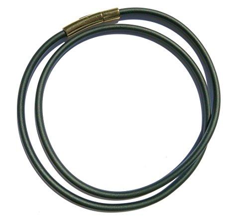 Kautschukhalsband, Halskette, Kautschukband mit rostfreiem, goldfarbenen Edelstahl-Druckverschluss KHG 300, verschiedene Laengen, 3 mm Band-Durchmesser, (50 Zentimeter)