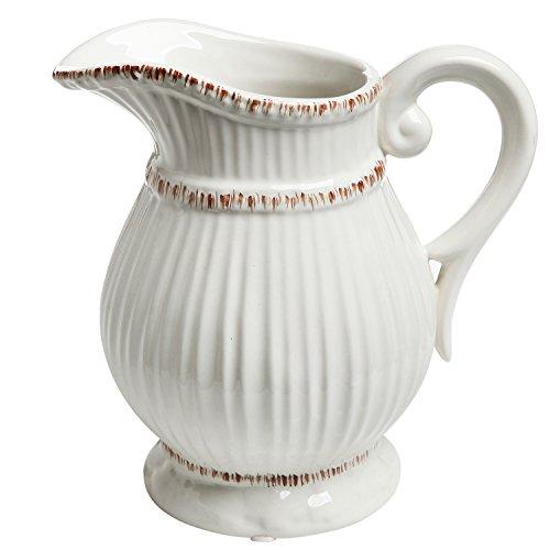 Weiß, aus Keramik, Vintage-Stil, französisches Wasserkaraffe Flower Vase/Deko-Blumenstrauß Halter MyGift -