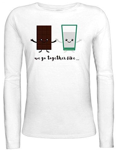 Valentinstag Damen Longsleeve Langarm T-Shirt mit Chocolate + Milk Motiv von ShirtStreet Weiß