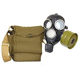 OldShop Gas Mask REPLICA Gp-7 Russian USSR Military Rubber With All Equipment: Mask, Bag, Filters and Anti-fog Stickers, Small Membranes Color: Black | Size: L (3Y)