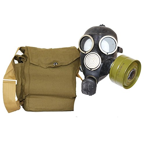 OldShop Gas Mask REPLICA Gp-7 Russian USSR Military Rubber With All Equipment  Mask  Bag  Filters and Anti-fog Stickers  Small Membranes Color Black   Size  S  1Y