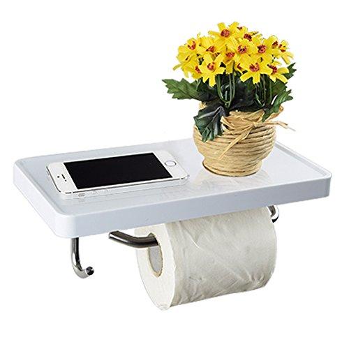 Supporto per rotolo di carta igienica multifunzionale, da parete, in acciaio INOX, scaffale con gancio, colore: bianco