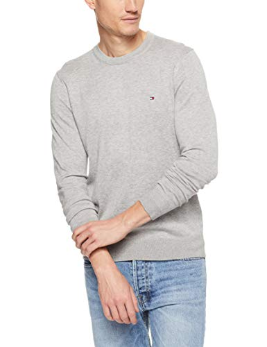 Tommy Hilfiger Herren Pullover CORE Cotton-Silk CNECK, Grau (Cloud Htr 501), Medium