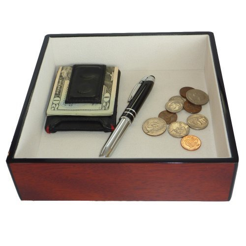 Valet Cherry (Cherry Wood Lacquer Finish Catchall Coin Case Valet Tray & Catch-all for Keys, Phone, Jewelry, and More (7