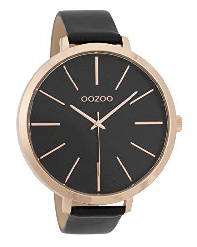 Oozoo Damenuhr mit Lederband 48 MM Rose/Schwarz/Schwarz C9679