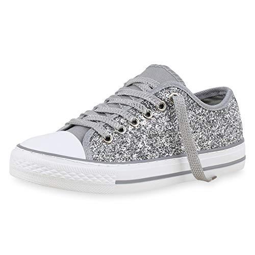 SCARPE VITA Damen Sneaker Low Glitzer Turnschuhe Schnürer Freizeit Schuhe 174285 Silber Weiss 38