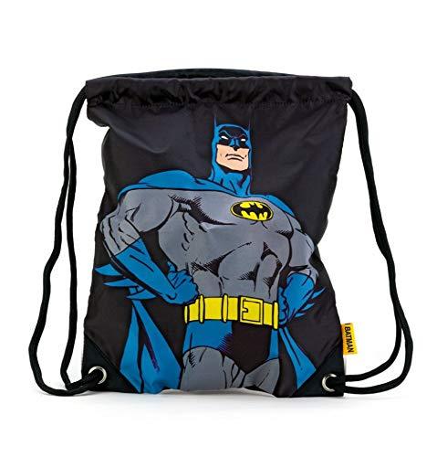 Baagl Turnbeutel - Wasserdichte Schuhbeutel für Kinder, Jungen und Herren - Schule und Kindergarten Sportbeutel, Sportrucksack (Batman - Superhero)