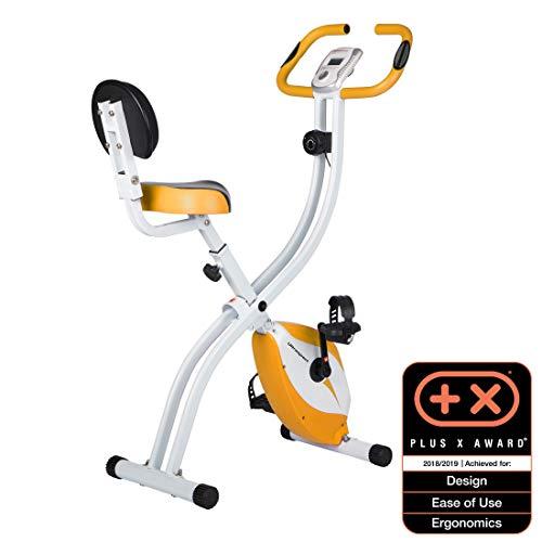 Ultrasport F-Bike 200B Vélo d'appartement pliant avec capteurs de pouls à la main, avec dossier, Orange
