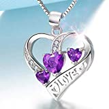 ZSML Blue Heart Romantic Love Pendant Halskette – Made with Swarovski Element Crystals S925 Sterling Silver – Lady perfektes Schmuckgeschenk,Purple