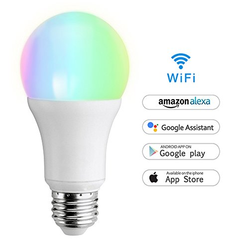 Wifi Smart Lampe, Wlan LED Dimmbar Glühbirne 7W, E27, 650LM Smarthome Birne Amazon Alexa [Echo, Echo Dot] kompatibel, Wake up-Light LED,weiß, bunt, steuerbar via App,Funktioniert Ohne Hub (Allen Wake)
