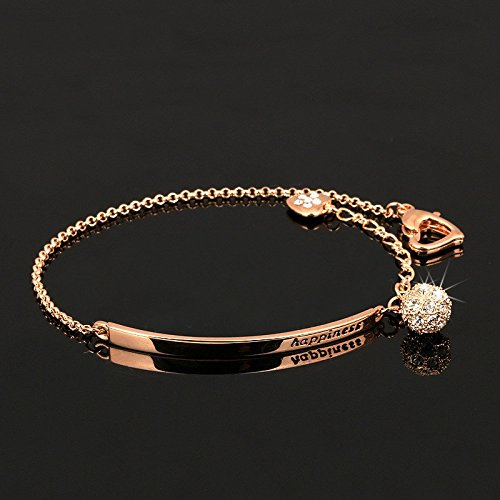 Wicemoon Damen Rosegold Armbänder mit Zirkon Kugel Anhänger Mode Armkette Schmuck