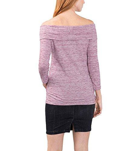 edc by Esprit 086cc1k065, T-Shirt Femme Rouge (BORDEAUX RED 600)