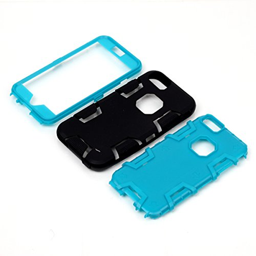 iPhone 6 Plus/6s Plus Hülle, FindaGift 3 in 1 Hybride Handycover Hartschale Cover Roboter Guard Schutzhülle Innere PC Case Weich Silikon Back Rüstung Ganzkörper-Schutz [Bruchsicher] [Anti-Rutsch] Hand Schwarz + blau