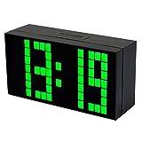 T Tocas(tm)16,5cm Nouveau mode Trois dimension 4 Chiffres Gros LED Horloge murale Digital à Vert LED Snooze Pendule électronique Heure/Minute Avec Alarme, Calendrier, thermomètre, avec EU Plug (Vert)