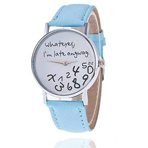 "Fashion Leder Herren Damen Armbanduhr, ""Whatever, I 'm late anyway"" Rund Fall (Hellblau)"