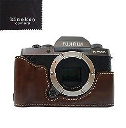 Fuji X-t100 Tasche, Kinokoo Tasche Für Fujifilm X-t100 Kamera, Halbe Abdeckung Handgriff (Kaffee)