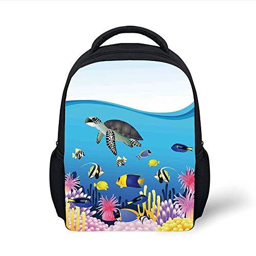 Kids School Backpack Whale,Illustration of Sea Anemone Turtles Goldfish Snorkel Tropical Seascape Cartoon,Light Blue Yellow Plain Bookbag Travel Daypack Anemone Cup