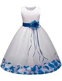 b65693a99cb34 Oyedens Robe de Filles Enfant Fille Robe Cérémonie Fleur Robe de Princesse  Dentelle Robe de Soirée