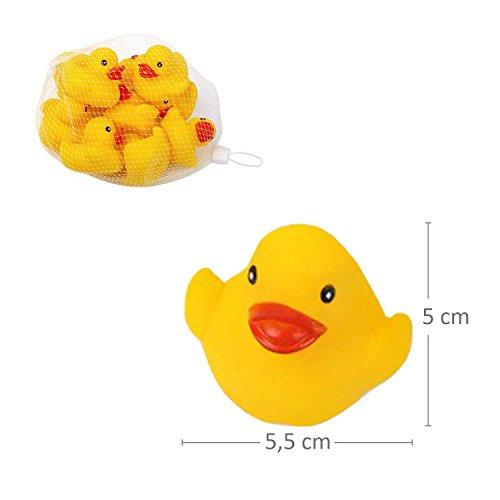 S/O® 10er Pack Gummiente Gelb 5cm im Netz Badeente Bade Ente Enten Badeenten Gummienten - 3