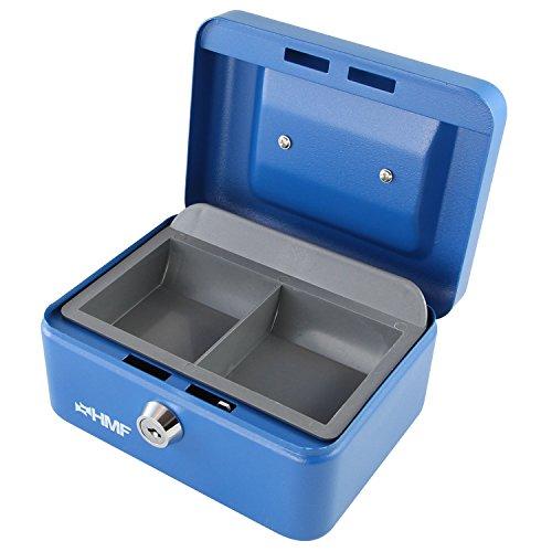 HMF - Caisse à monnaie, 150 mm, avec tiroir à monnaie amovible - Bleu