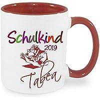 Schulkind 2019 Tasse Kind Mädchen Junge Henkel Becher mit Namen bedruckt Namentasse personalisiertes Geschenk mit WUNSCHNAMEN zum Geburtstag Einschulung