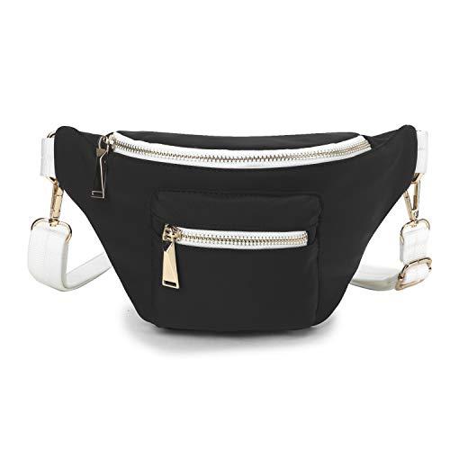 Wind Took Mode-Hüfttasche Kleine Umhängetasche Damen Crossbody Tasche Brusttasche Sporttasche - Hochwertige Hipster Hip Bag für Alltag, Festival Schwarz