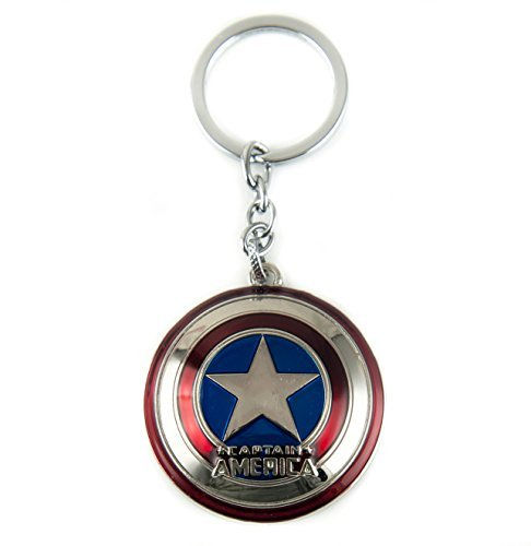 Lzy-store Captain America's Shield Keyrings Keychains Bag Accessories Jewelrys (Metal ring with strings attached) (Silver)