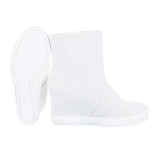 Keilstiefeletten Damenschuhe Plateau Keilabsatz/ Wedge Keilabsatz Reißverschluss Ital-Design Stiefeletten Weiß
