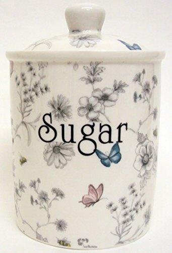 Secret Garden Boîte à sucre en porcelaine anglaise Scène de Jardin Fleurs Papillons abeilles Bocal décorée à la main au Royaume-Uni.