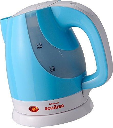 Schäfer 0,9 Liter kabelloser Wasserkocher - Mini-Wasserkocher (Blau)