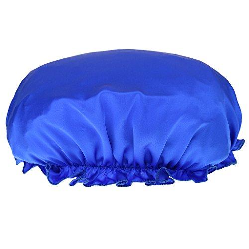 Femme Bonnet de Nuit Charlotte en 100% Soie Chapeau de Sommeil Bonnet Nuit Cheveux Sec Bleu Profond